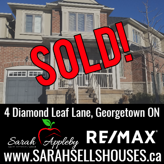 SOLD-4 Diamond Leaf Lane Georgetown - Welcome to your new Home! 5 years young, This massive 3 Bedroom, 4 Bath, 2-Story, 1943 sq ft Fernbrook Luxury Townhouse is located on prestigious Diamond Leaf Lane in Commuter-Friendly Georgetown South.Scroll down for Pictures BelowThousands have been spent on Upgrades! (please ask for full list) -Hand Scrapped Hardwood throughout Main/Upstairs, Open Concept Main Level with 9' high Ceilings, Pot Lights, Bosch S/S Appliances w/ Gas Stove, Granite Counters & Breakfast Bar, 2 Sets of Pots & Pan Drawers, Under-Cabinet Lighting, Kitchen Central Vac Sweep Pan, Under-mount Double Sink, Recycling Drawer, Lots of storage for all your cooking tools. Kitchen walks out to fully landscaped yard with Stone Patio, a small peaceful zen pond, Japanese Maple, and a water feature. BBQ is attached to gas line, never have to buy propane again!Oak Staircase with upgraded Runner leads you up to 3 large bedrooms, guest bath and your 2nd Floor Laundry Room. Grand Master Bedroom has a spacious Walk-in Closet & calming Ensuite equipped with Exact Temperature Vertical Spa Thermostatic Glass Shower, Tempered Glass Double Sink Vanity, and relaxing 18 Jet Whirlpool Soaker Tub.Finished Basement is already wired with Surround sound for movie night! This professionally finished basement has enlarged windows, 3-piece bathroom, Media Zone, Storage & Extra Large Cold Cellar.Within walking distance to Parks, Nature Trails, Shopping and Schools. .Don't miss out on this great opportunity to live in one of Georgetown's Best Communities!Extras: Entire Home recently painted inside fresh light neutral toneInterior & Side-Yard convenient Garage door accessFront Porch Dog/Child GateHot Water Heater-rental.Include - All Stainless Steel Appliances (Fridge, Gas Range, Range Hood, Dishwasher, Washing Machine, Gas Clothing Dryer), Garage Door Opener, Brown Storage Shed, Light Fixtures and Blinds. BBQ NegotiableRoad Maintenance & Garbage Fee $95.08 Per Month.Quick Closing or 60 day closing AvailableCall Sarah 9057031002 to set up a private showing.