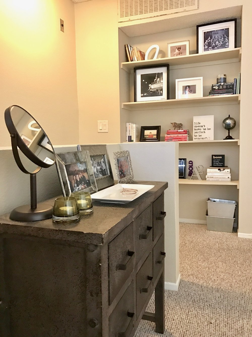 Styled mini dresser and book shelves