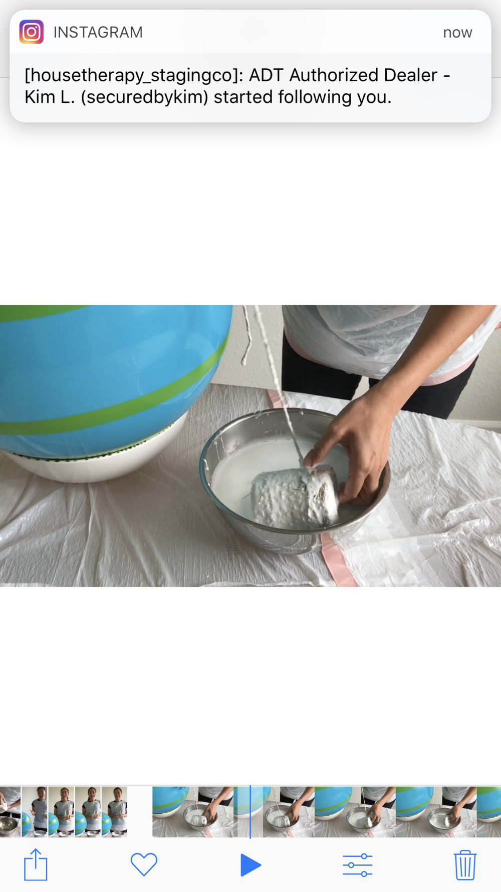 Submerging the roll of twin into the glue solution