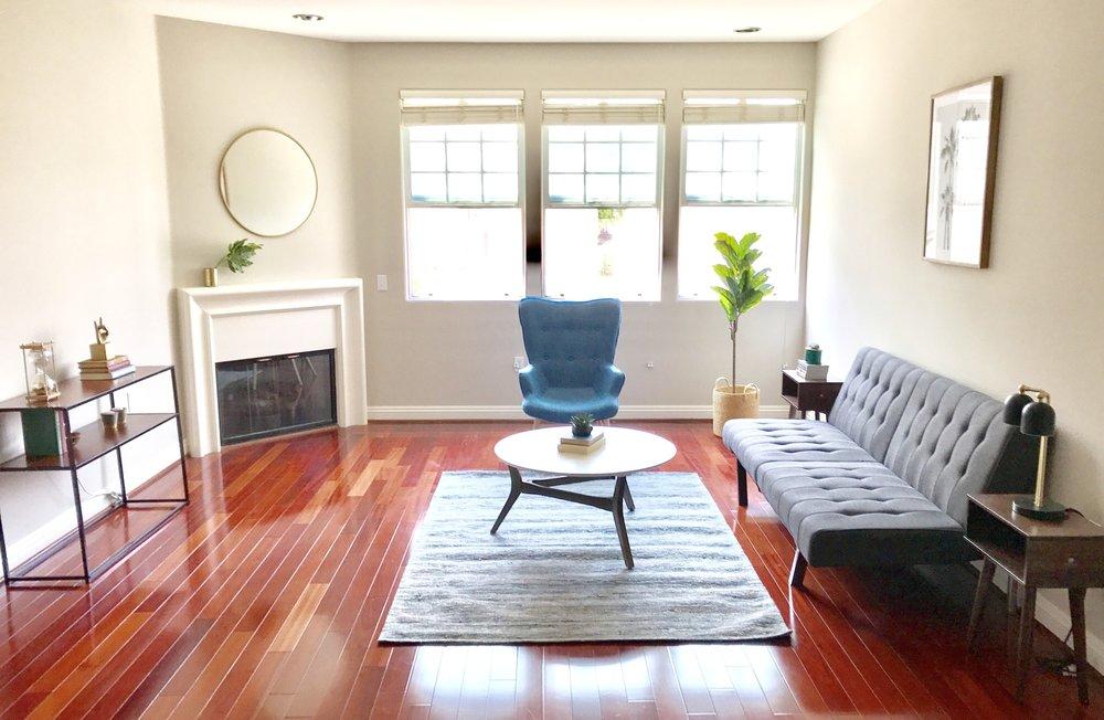 Burbank living room, After staging