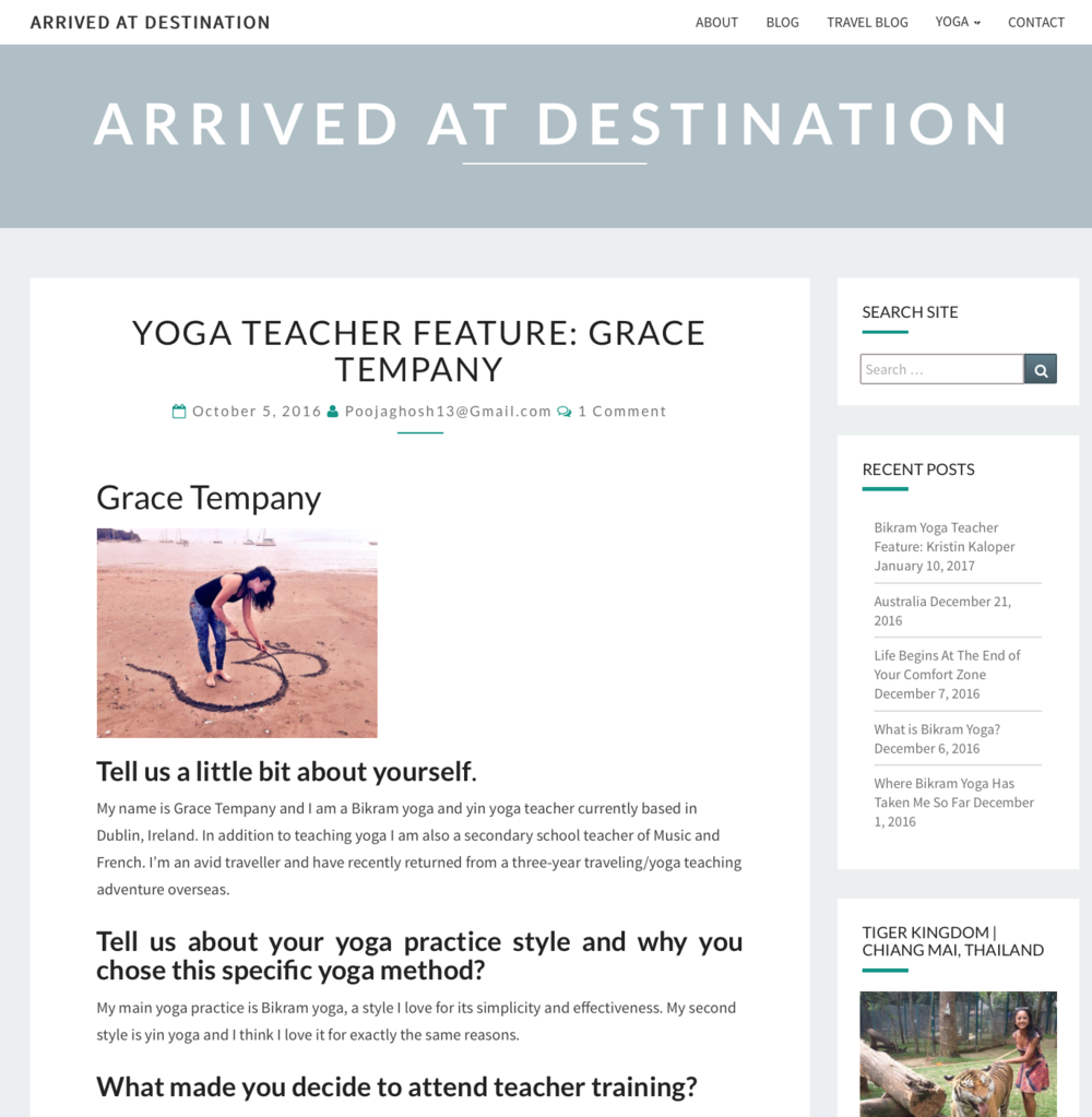 Arrived at Destination - Featured Yoga Teacher