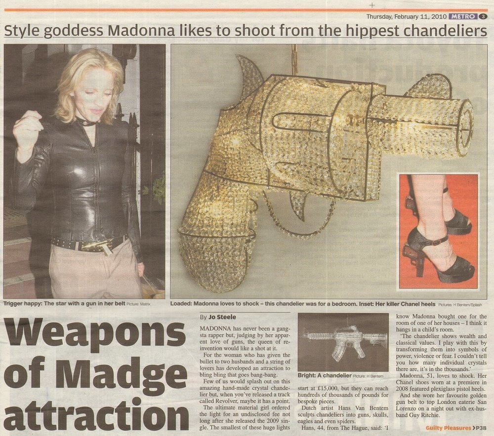 Madonna acquired the artwork by the artist after she released her single 'Revolver'. Van Bentem: 'I know Madonna bought one for the room of one of her houses - I think it hangs in a child's room'. -