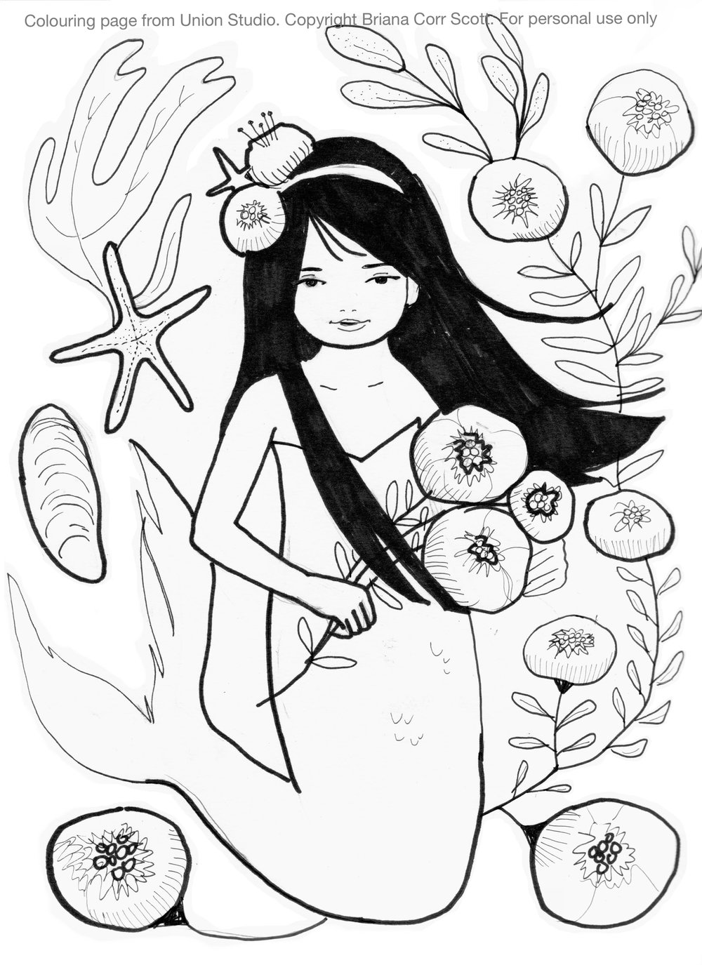 """""""Mermaid with Flowers"""" Personal Use Only. Copyright Briana Corr Scott"""