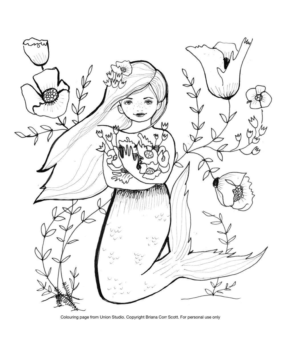 Mermaid Hugging Flowers  Personal Use Only. Copyright Briana Corr Scott