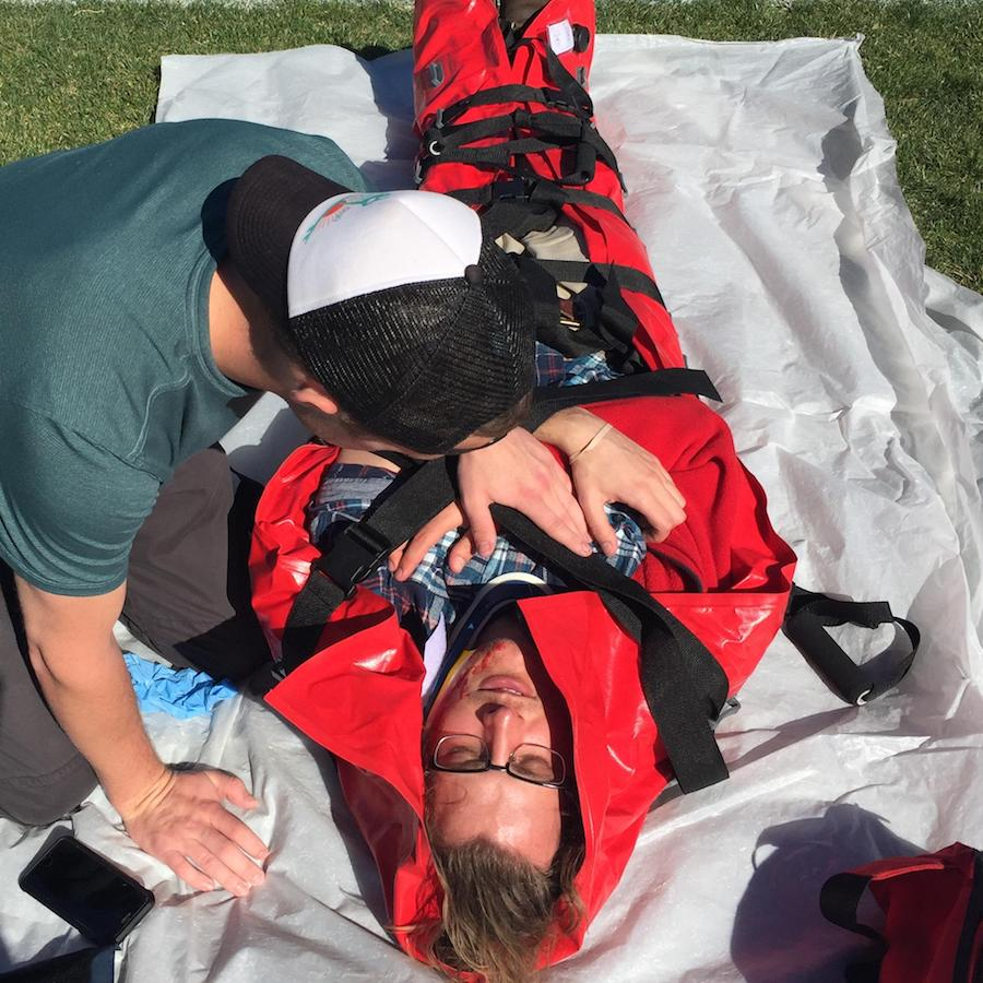 Get hands on experience with advanced rescue tools, such as a full body vacuum splint.