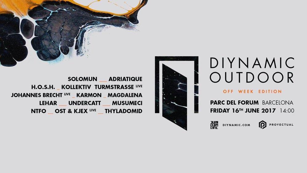 Así queda el cartel del Diynamic Outdoor 2017. Off at Fòrum no es una broma.