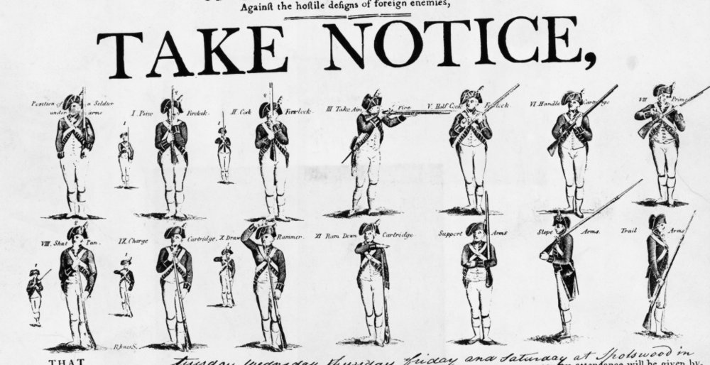 A Revolutionary War recruiting poster.