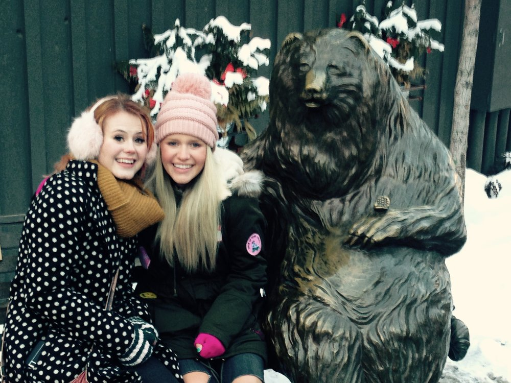 Kenzie and Ashley hang out with the bear on Main Street in Park City as we talk about the script.