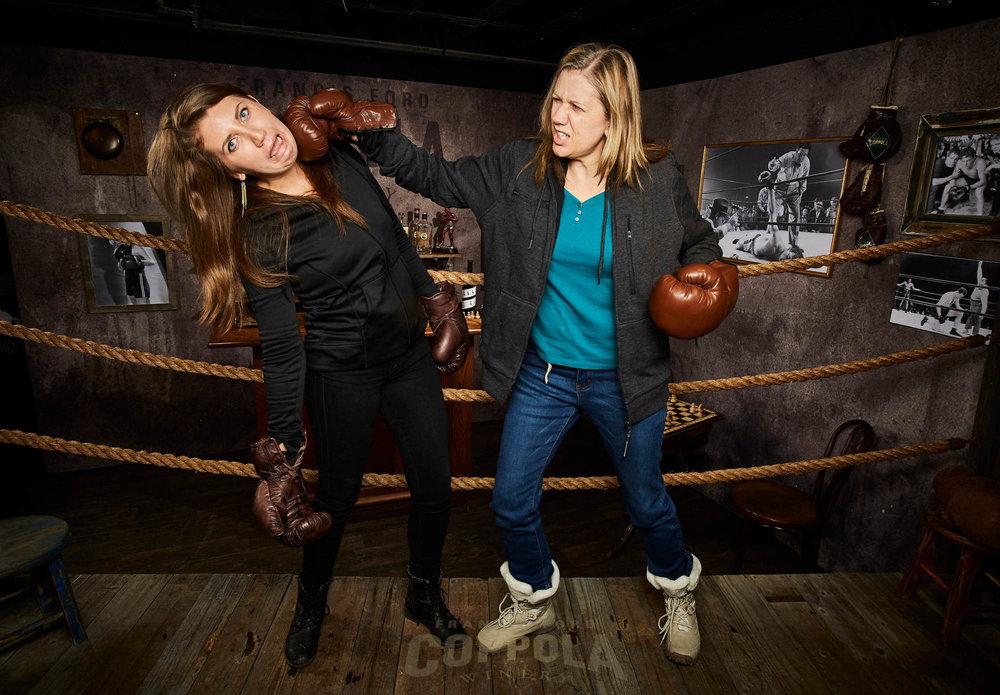 Molly Associate Producer Karin Knebl gives a right hook to LA Actress Anja Knebl at Sundance.