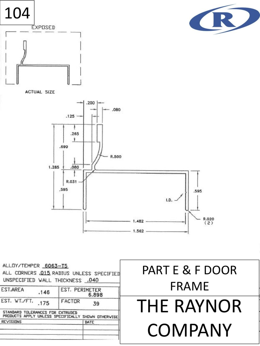 Part E & F Door Frame -