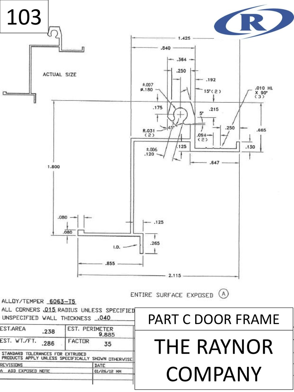 Part C Door Frame