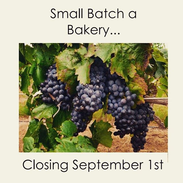 Dear Small Batch friends, it is with a mix of sadness and excitement that I announce the closing of Small Batch a Bakery, effective September 1, 2017.  As some of you know, I worked in winemaking prior to moving to Tucson. I have been offered and accepted a really great opportunity to return to winemaking in Paso Robles, CA. Winemaking has been a long time dream of mine and I'm very excited to get back into it.  I'm sad to leave our friends and family in Tucson, but I know we will be back to visit!  I want to extend my sincere thanks to @exoroastco @exo_kitchen @southwindsfarmaz @pivotproduce @pueblovida @ediblebajaaz for their early and enthusiastic support of Small Batch! Tucson is lucky to have you and I'll miss working with you all! I would also like to thank all my customers! You've been fantastic to bake for and I've enjoyed meeting you all.  Finally, thanks to @sethcothrun for everything 💞  #smallbatchabakery #bakery #tucson #arizona
