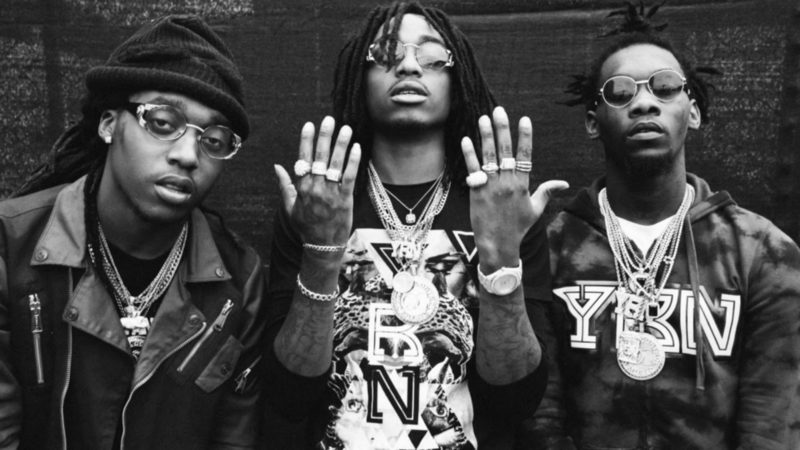 From left to right: Takeoff, Quavo, and Offset