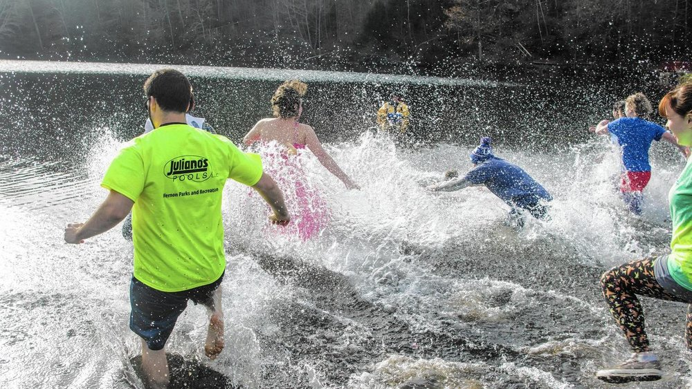 A group of splashers plunge into the chilly waters, at Valley Falls Park. - Steve Smith/Courant Community