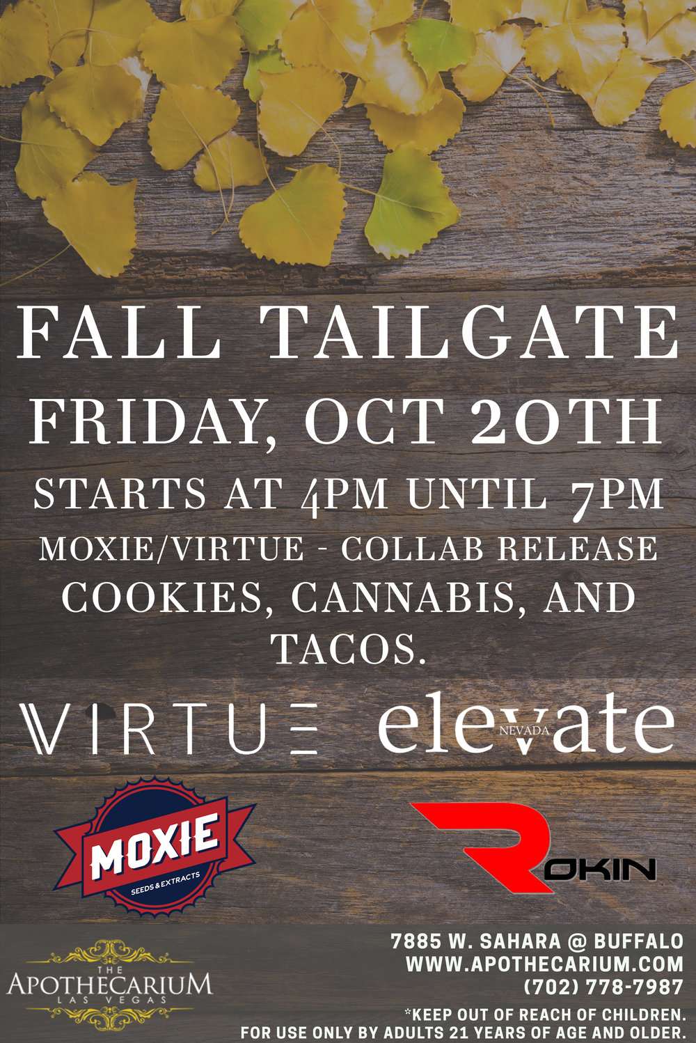 the apothecarium las vegas a medical and recreational cannabis dispensary discusses their fall tailgate event with virtue moxie rokin and elevate magazine