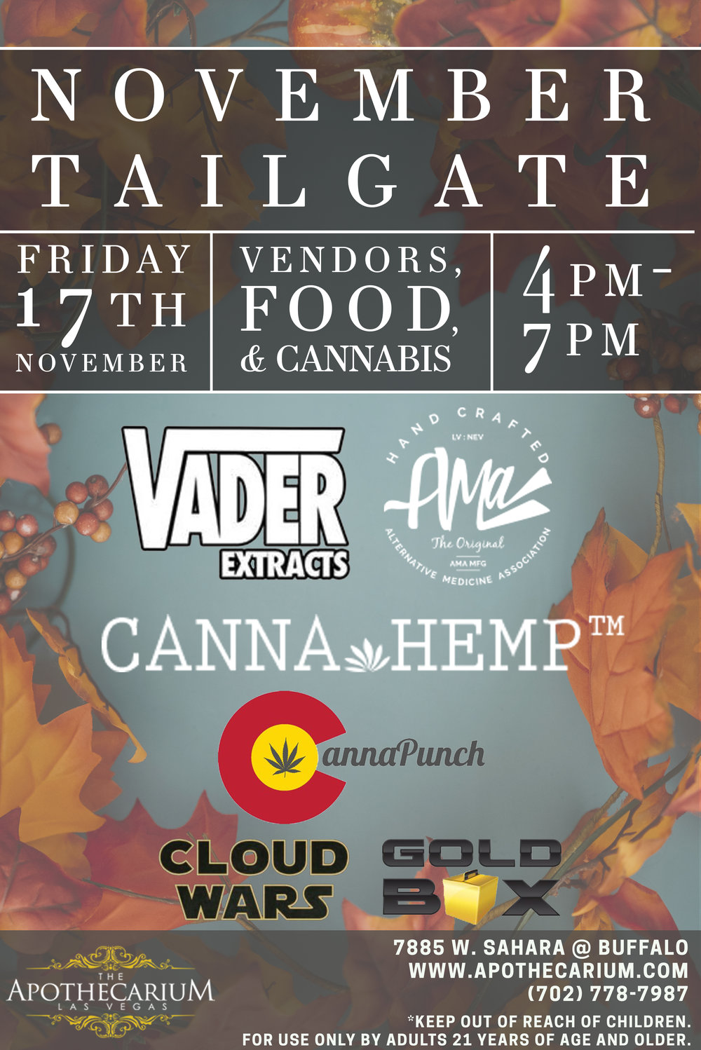 the apothecarium las vegas a medical and recreational cannabis dispensary discusses their november tailgate with ama, vader extracts, cannahemp, cannapunch, cloud wars, and gold box