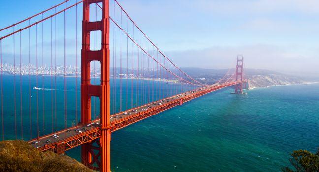 The sparkling Golden Gate Bridge, a symbol of San Francisco