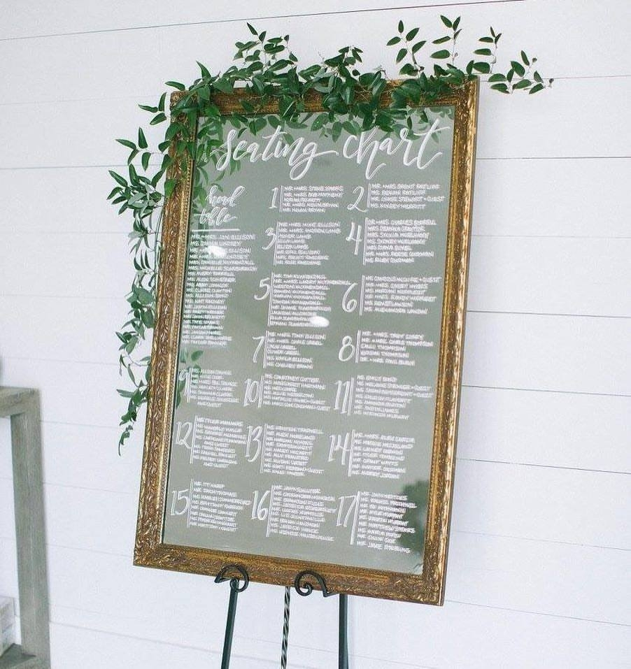Seating Chart on Vintage Mirror