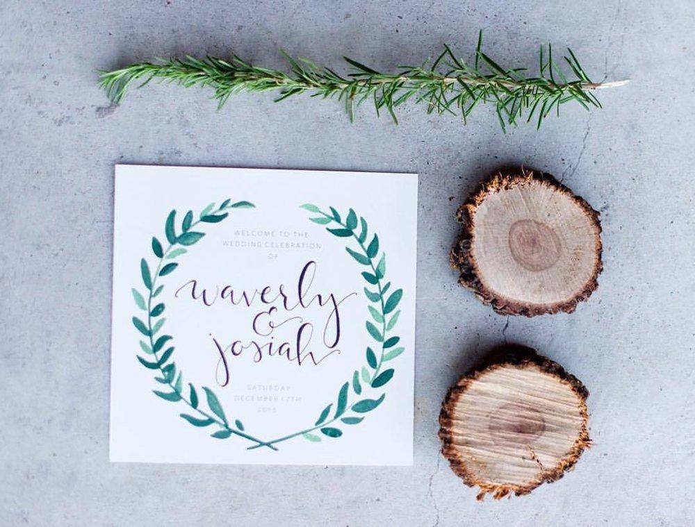 Square Wedding Program with Greenery (photo: Jen Brazeal)