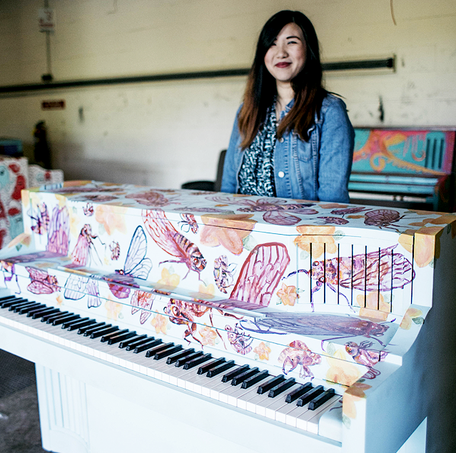 Meanz Chan    I am an artist, designer, photographer and overall creative person. I also co-founded the DSM girl gang. For her piano she used   a handpainted pattern utilizing a new or past pattern design.