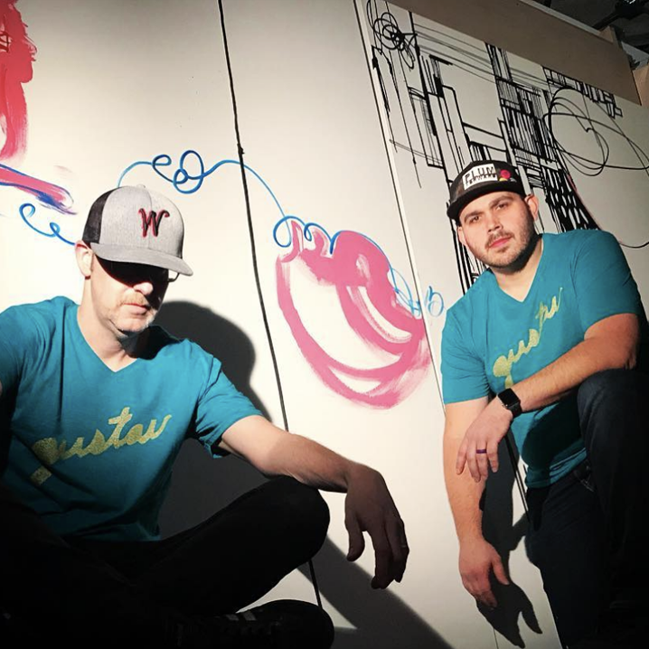 Gustav - Ben Schuh & Scott Kaven   Gustav is a Des Moines artistic duo created by Scott Kaven & Ben Schuh as an outlet to create work without egos…the only requirements are to be creative, push the limits, and have fun. Two artists working as one.