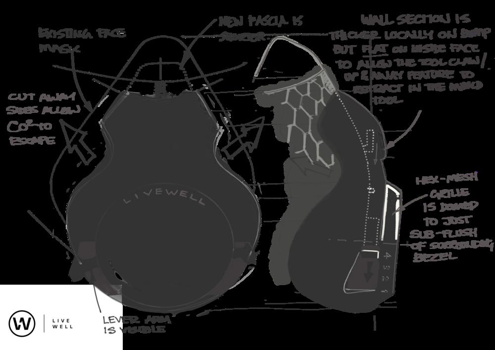 Mask front & side elevation sketch