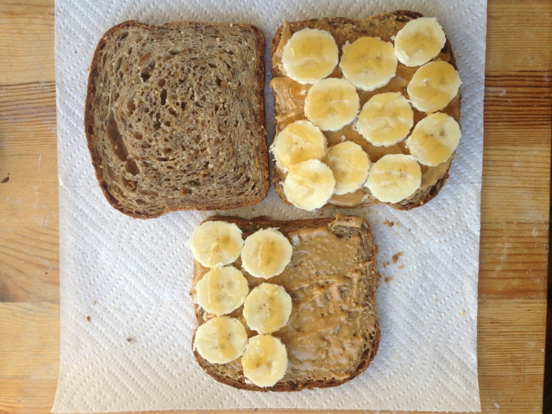 Peanut Butter Banana and Honey Sandwich