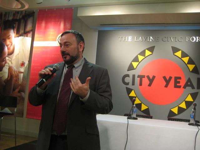 Joel at the Boston book launch, hosted by City Year - Photo: Joseph Porcelli, Be the Change, Inc.