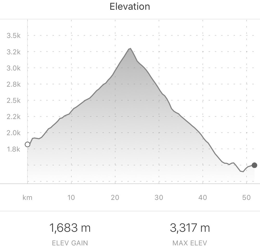 Today's elevation chart. From Strava.