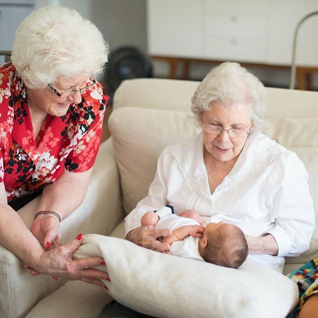 Seasoned and new. My husbands grandmothers meeting their great grandson.