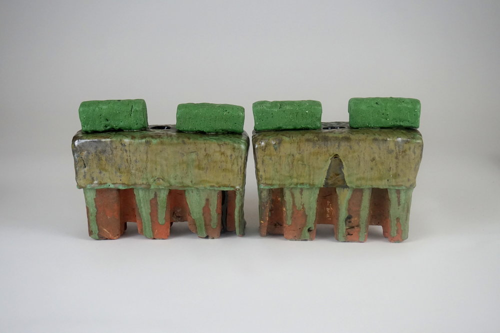 Privacy Hedge Vases - 8.25 x 4 x 6.75contaminated earthenware, various waste glazes, unwanted stainGreenery may be placed into the holes between the hedges to make a tree.
