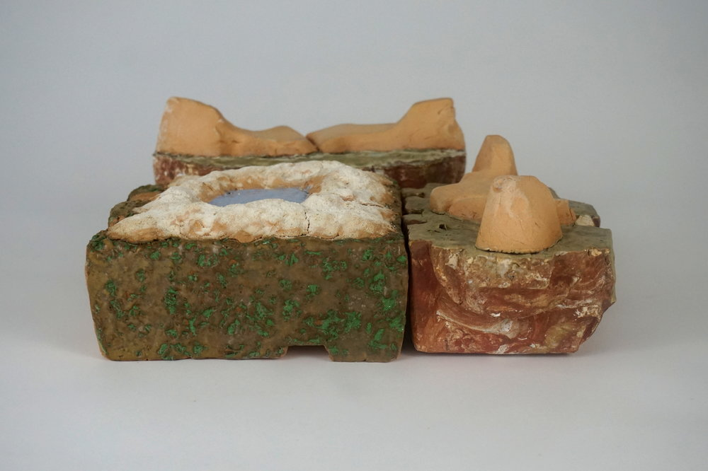 Saline Soil Salt Cellar - 10.5 x 11 x 4.25various reclaimed clays, waste glazesSalt Cellar and two Sandstone Formation Soap Dishes