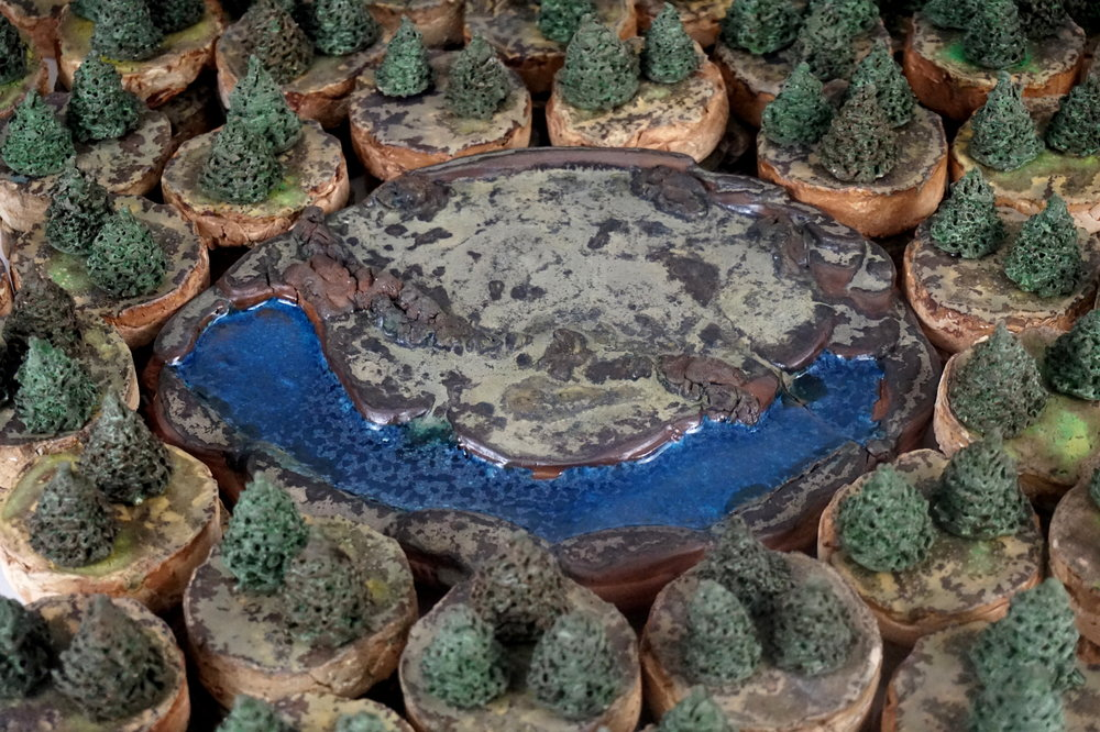 Centerpiece Pond in the Forest - 24 x 24 x 3.5reclaimed earthenware casting slip, waste glazes, various reclaimed clays, unwanted stain