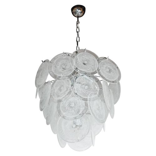 Modernist vistosi style chandelier in chrome and textured murano modernist vistosi style chandelier in chrome and textured murano glass discs aloadofball Images