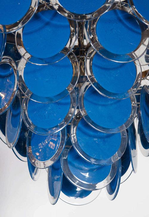 Gorgeous large 84 murano glass disc vistosi chandelier in navy blue gorgeous large 84 murano glass disc vistosi chandelier in navy blue aloadofball Images