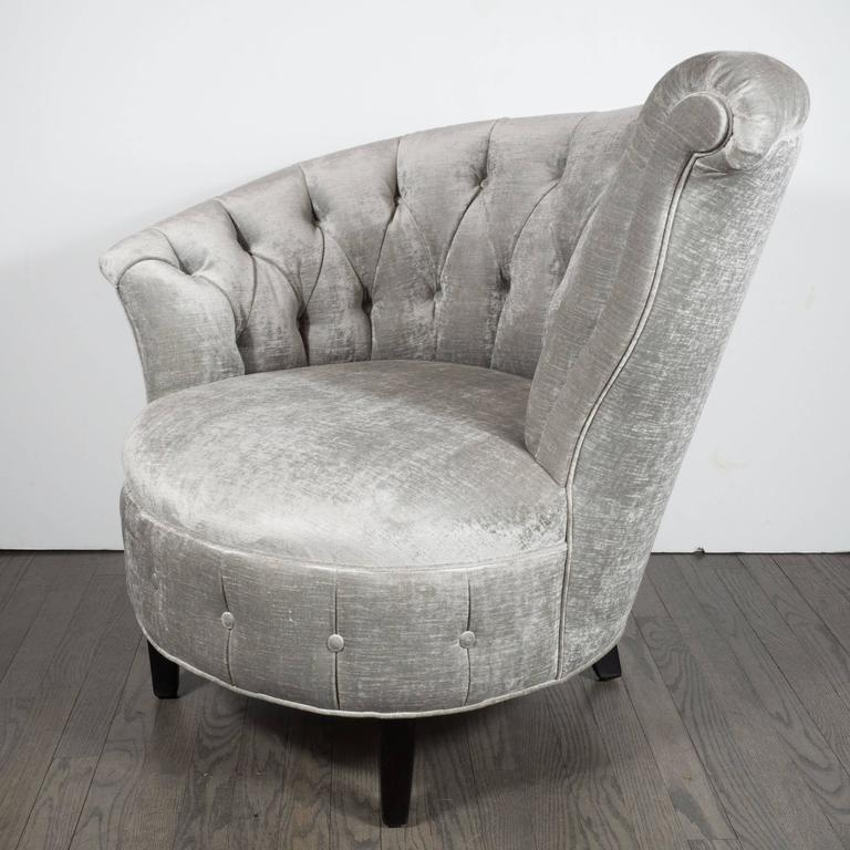 Pair Of 1940s Hollywood Regency Asymmetrical Tufted Chairs In Platinum  Velvet