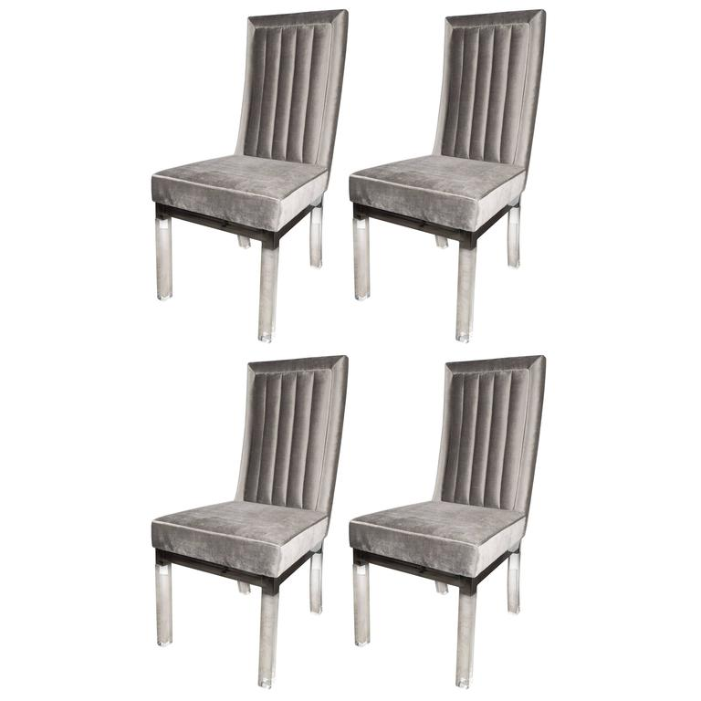 Four Dining Chairs in Lucite Chrome and Platinum Velvet by Charles Hollis Jones  sc 1 st  High Style Deco & Four Dining Chairs in Lucite Chrome and Platinum Velvet by Charles ...