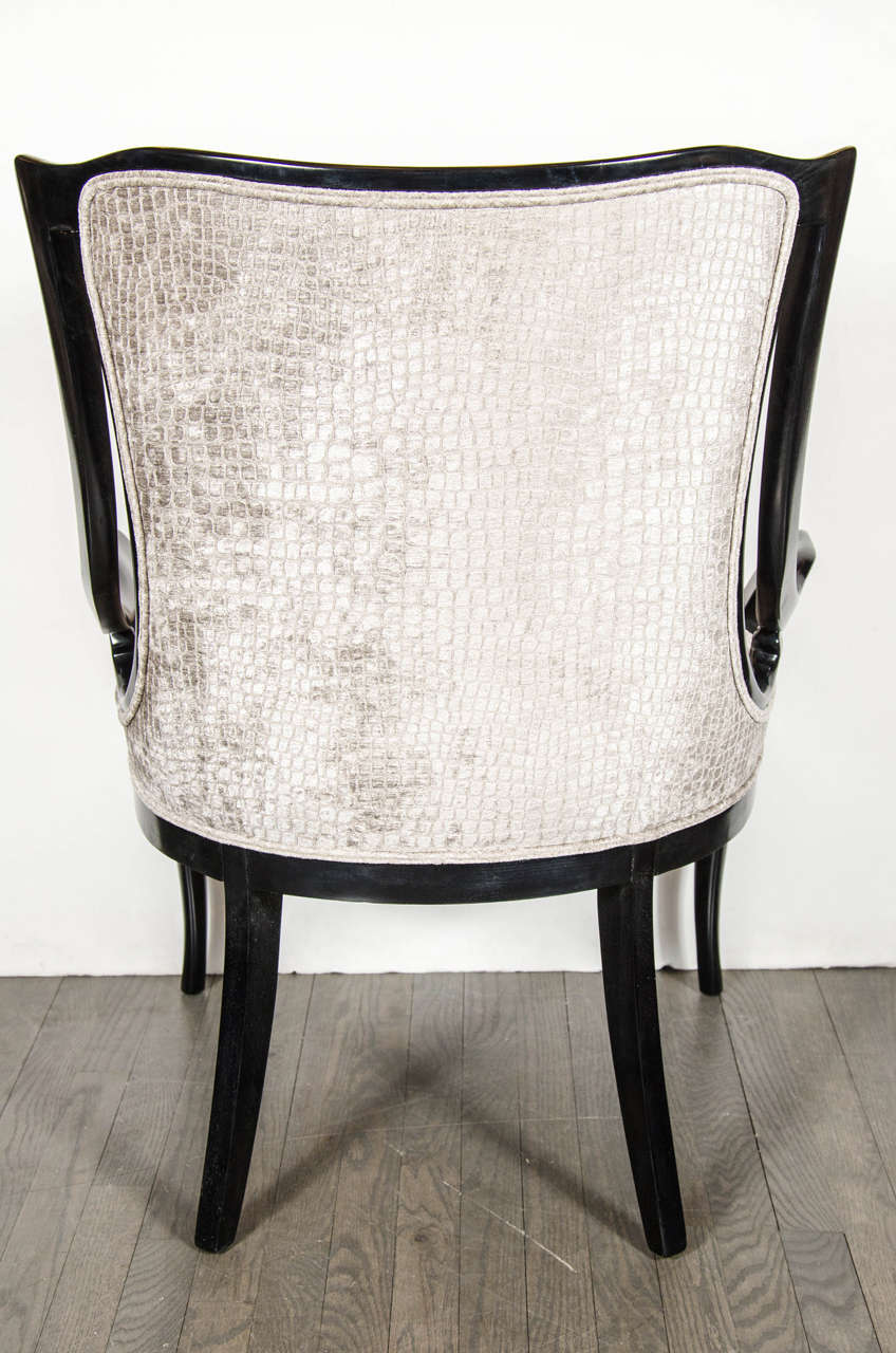 Sculptural Pair Of 1940s Sleigh Arm Occasional Chairs In Oyster Croc Velvet