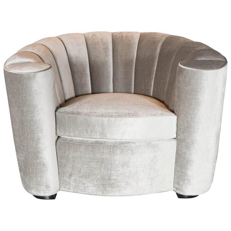 Bon 1940s Art Deco Hollywood Scroll Arm Channel Back Club Chair In Platinum  Velvet