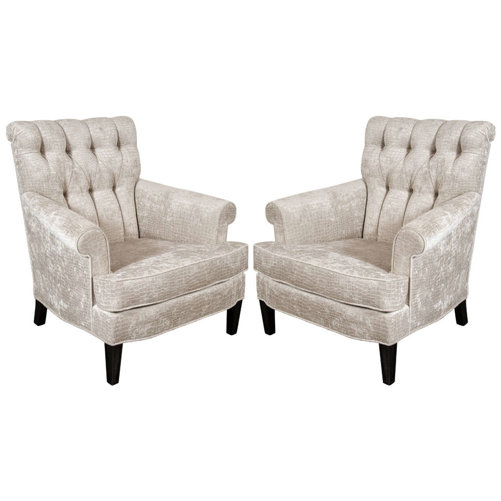 Pair Of Mid Century Tufted Back Scroll Arm Club Chairs In Crocodile Velvet