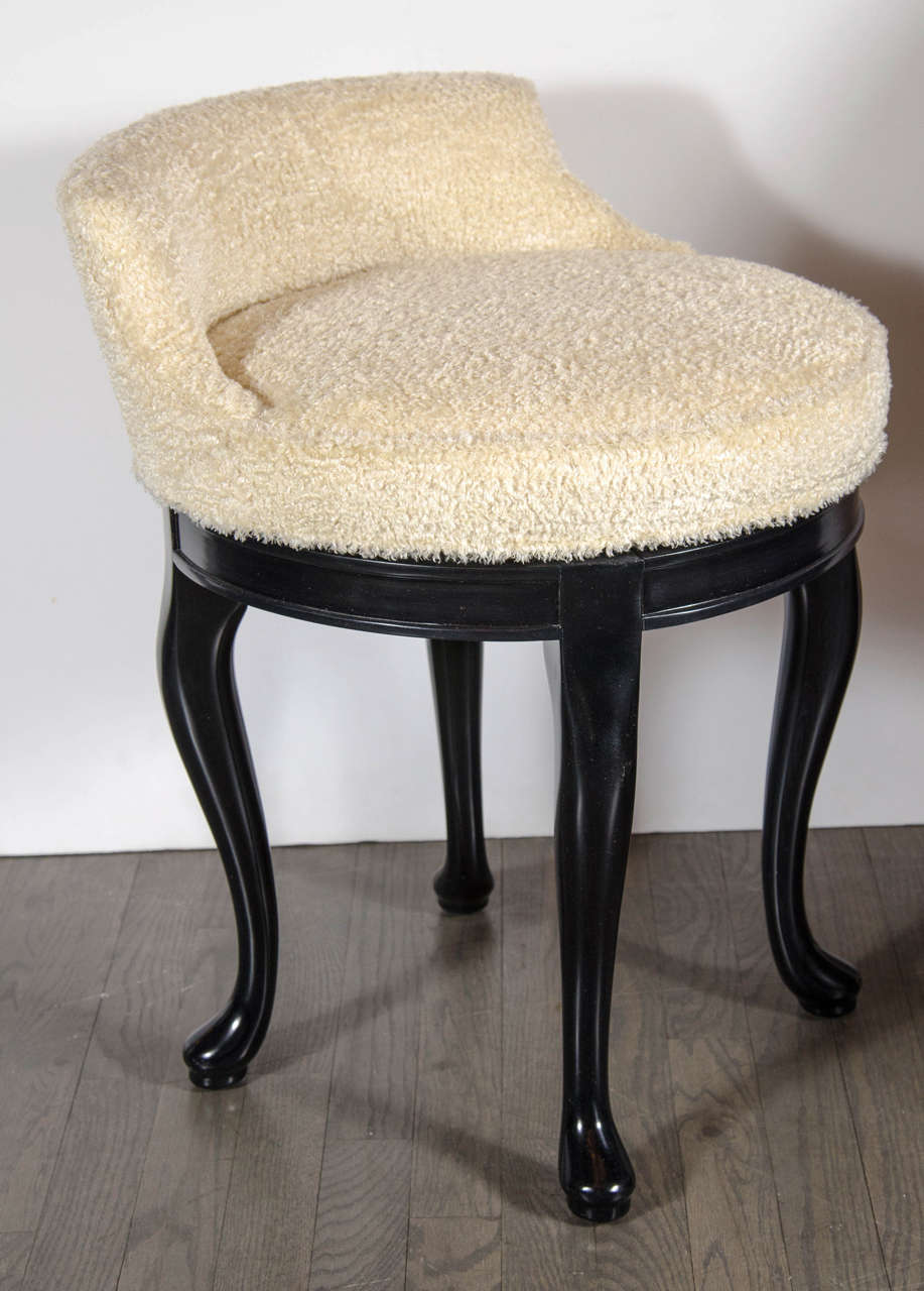 1940s hollywood swivel vanity stool in faux lambs wool and ebonized walnut