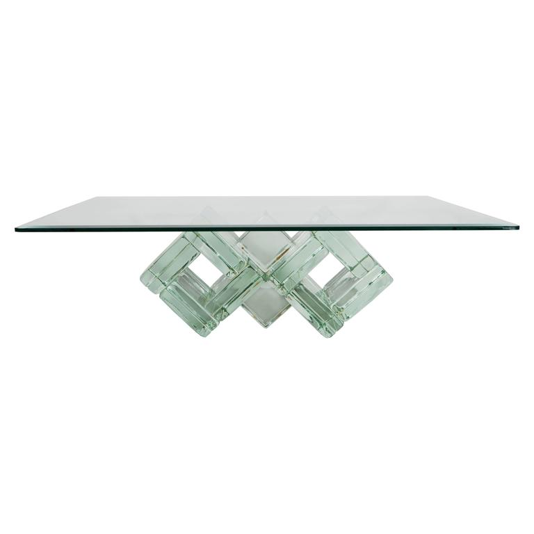 Mid Century Double Diamond Glass Block Cocktail Table By William G. Faber