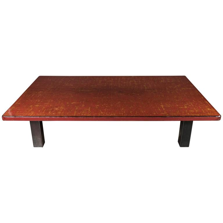 Mid Century Modern Chinese Red Lacquered Coffee Table On Ebonized Table Legs