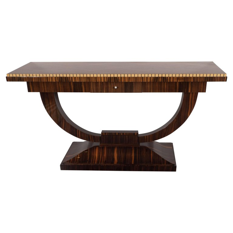 Merveilleux Art Deco Console Table In Macassar And Burled Elm With White Holly Inlays