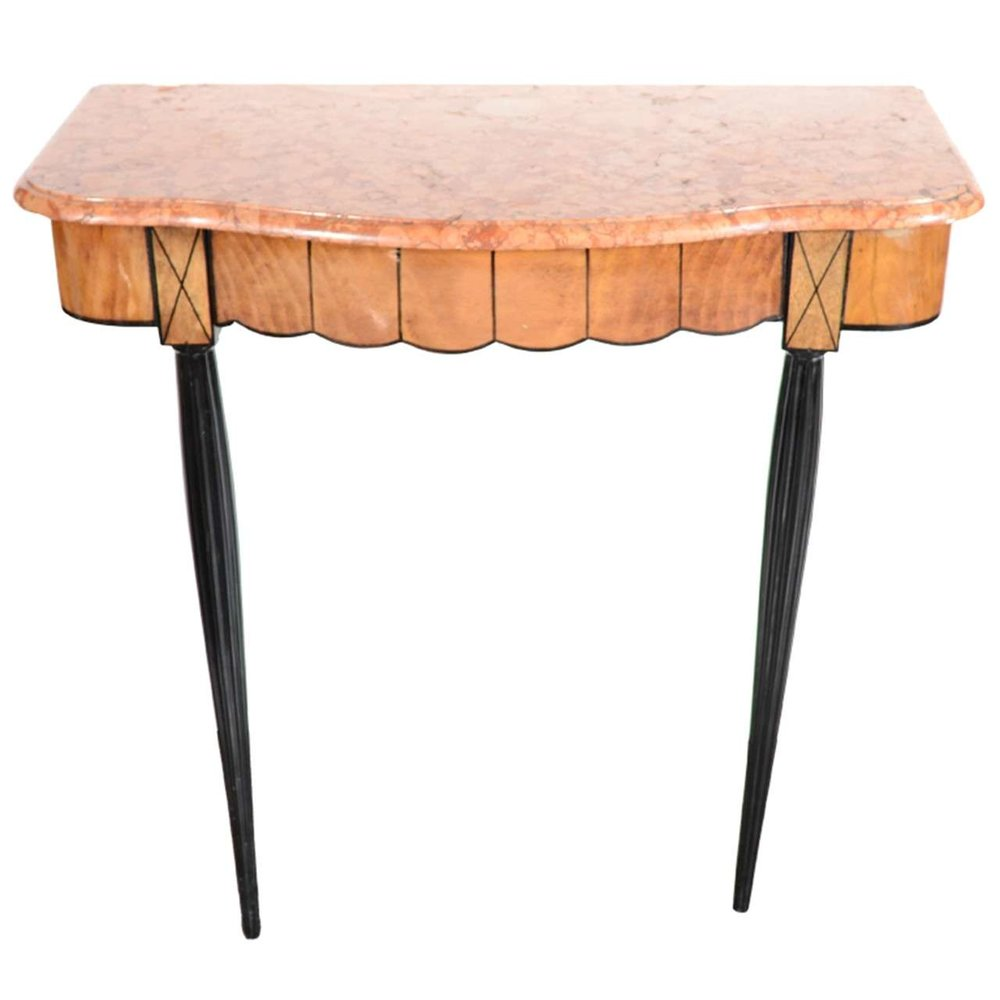 Art Deco Exotic Marble Top Console Table In The Manner Of Ruhlmann