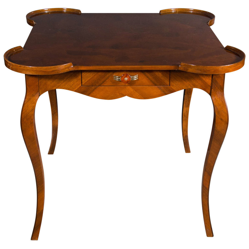 French Art Deco Game Table With Inlaid Exotic Burled Walnut Abstract Mosaic  Top