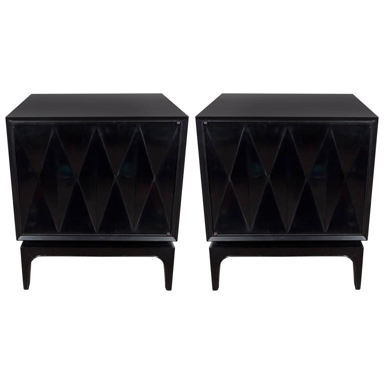 Beau Sculptural Pair Of Ebonized Walnut Nightstands Or End Tables With Diamond  Front ...