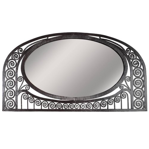 Attractive Art Deco Wrought Iron Mirror with Scroll Detailing in the Manner  YL52