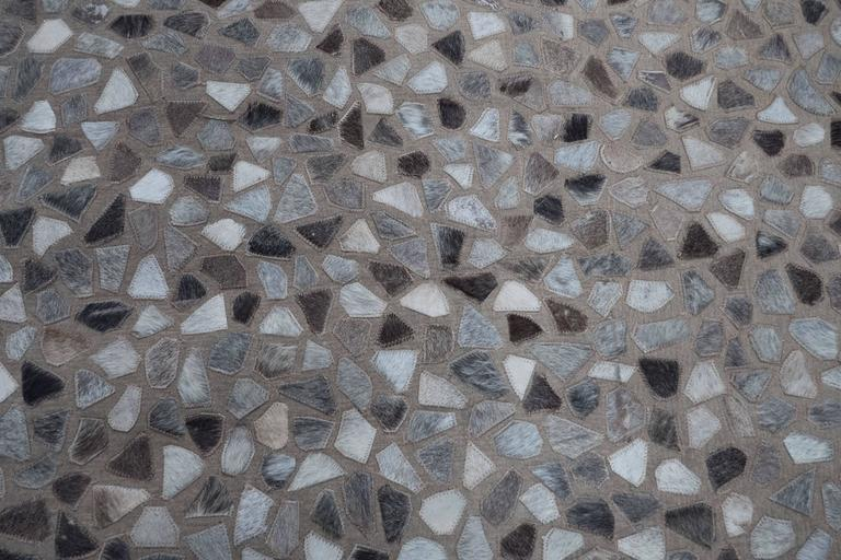 Modernist Pebble Patchwork Kyle Bunting Style Rug In Grey And White