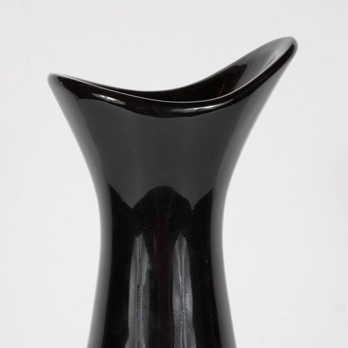 Mid Century Modernist Hourglass Black Ceramic Vase With Gold Band